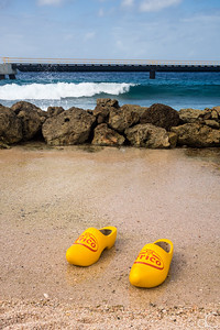 Frico Cheese Shoes in the Sand, Willemstad, Curacao, June 2019.