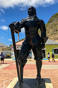 "Statue of Pieter ""Peg Leg Pete"" Stuyvesant, Philipsburg, St. Maarten, May 2018."