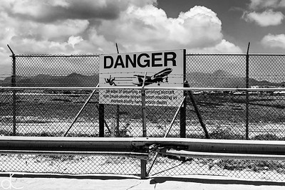 DANGER, Maho Beach, Sint Maarten, Netherlands Antilles, May 2018.