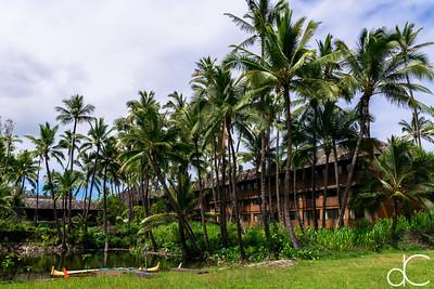 Sea Shell Building and Lagoon, Coco Palms Resort, Kapa'a, Hawai'i, June 2014.