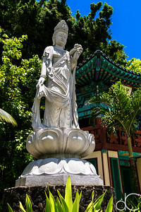 Kwan Yin Bodhisattva and Bell Tower, Mu Ryang Sa Temple, Hawai'i, June 2014.
