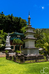 World Peace Pagoda, Kwan Yin Bodhisattva, and Bell Tower, Mu Ryang Sa Temple, Hawai'i, June 2014.