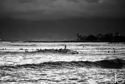 Catching the Last Waves, Waikiki Beach, Honolulu, Hawai'i, June 2014.