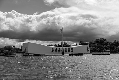 Approaching the USS Arizona Memorial, Pearl Harbor, Hawai'i, June 2014.