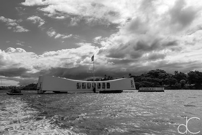 Departing the USS Arizona Memorial, Pearl Harbor, Hawai'i, June 2014.
