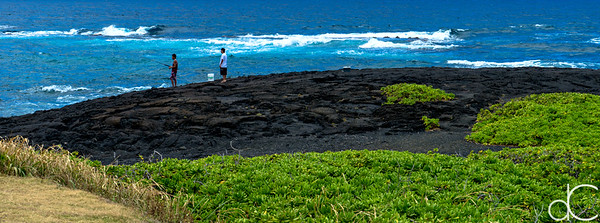 Scenic Fishing, Punalu'u Black Sand Beach, Hawai'i, June 2014.