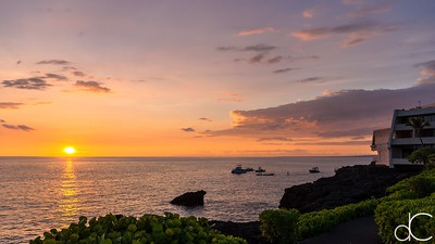 Big Island Sunset, Keauhou Bay, Hawai'i, June 2014.