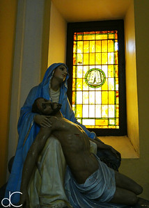 Pieta and Window, Metropolitan Cathedral Basilica of Saint John the Baptist, May 2018.