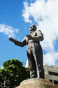 Statue of Arturo Somohano Portela, Old San Juan, Puerto Rico, June 2019.