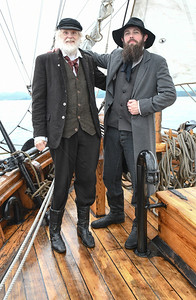 Captain of the sloop, Lars Gelaine, with Kleng