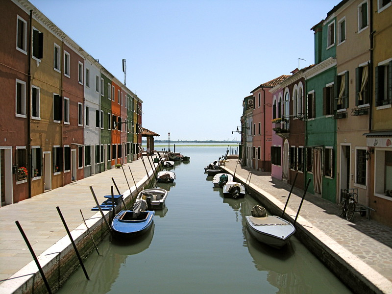 The colorful homes of Burano, looking out into the lagoon.