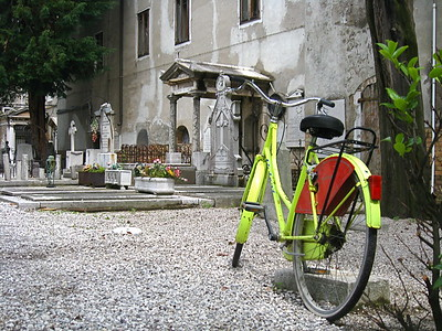 Bicycle parked outside the entrance to the Chiesa di San Michele.