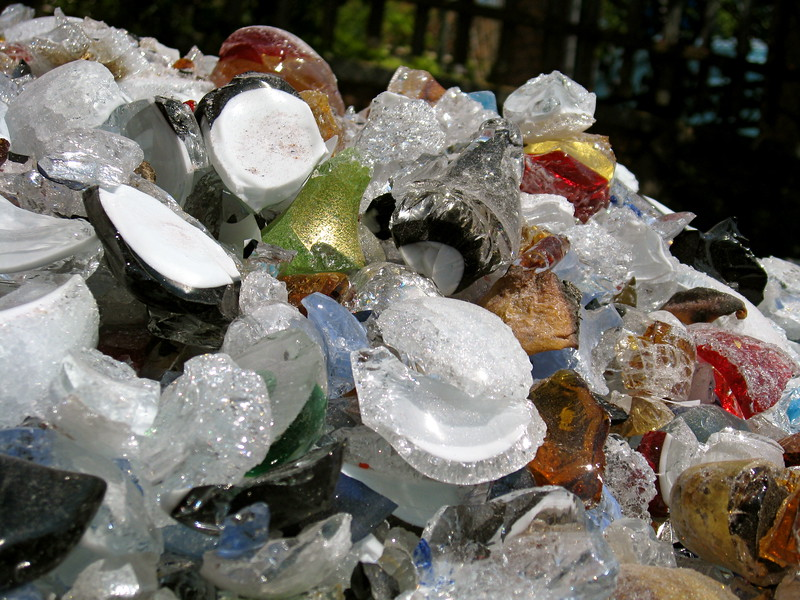 Pile of Murano glass outside one of the furnaces.
