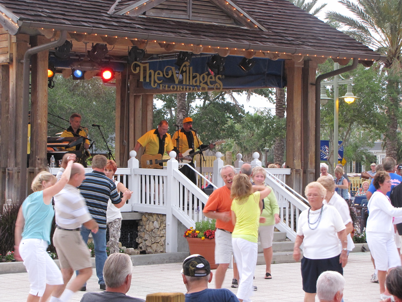 Rocky & The Rollers a popular 50's & 60's band perform at Sumter Landing in The Villages.
