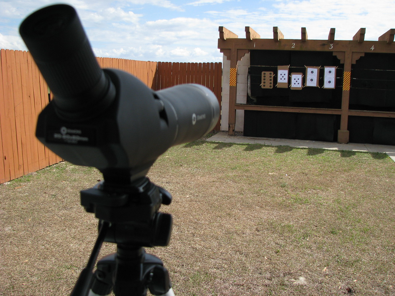 Looking down range, spoting scope to the left