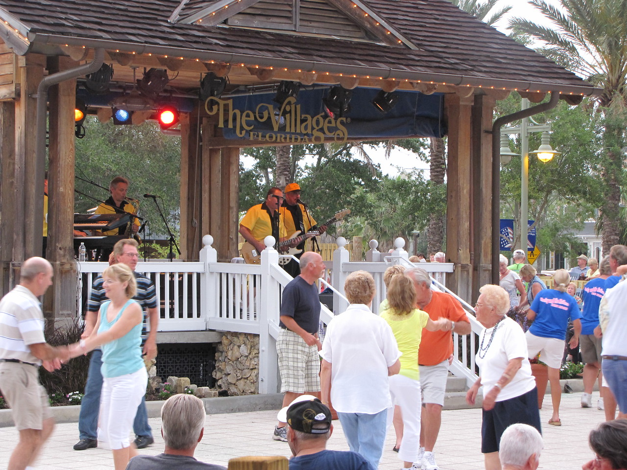 Rocky & The Rollers a popular 50's & 60's band performs at Sumter Landing in The Villages.