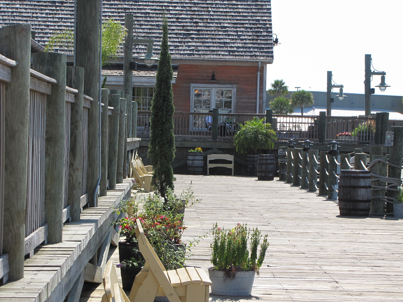 The board walk at Sumter Landing Town Square.