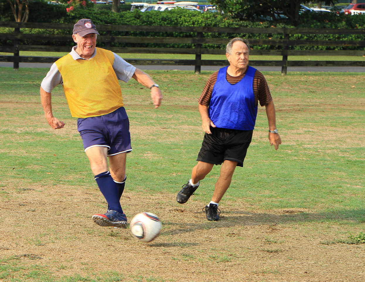 John Ellis in the yellow giving a kick!