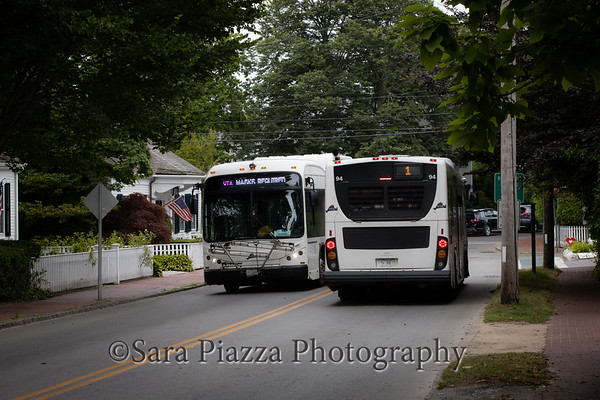 vineyard transit authority, main street edgartown, big buses, residential, historic