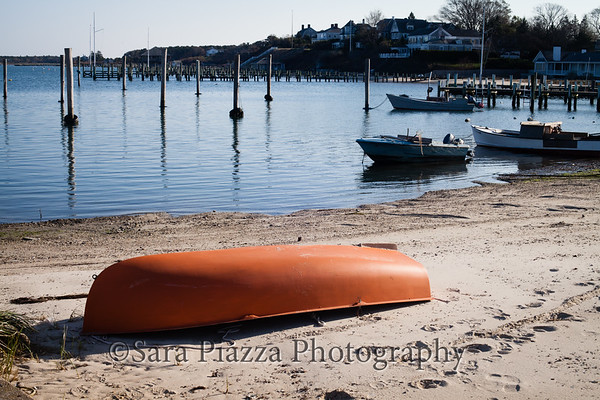 red boat, Collins' Beach, Edgartown