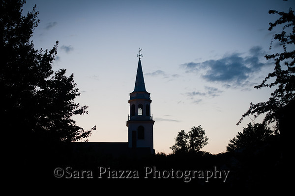edgartown, twilight, st. elizabeth's church, federated church, edgartown harbor