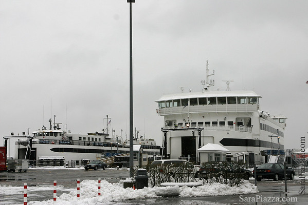 M/V Islander, in her final days, alongside her replacement.
