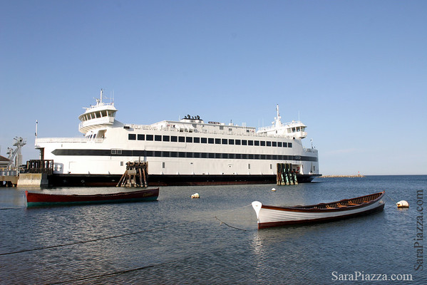 M/V Island Home, docked in VH. The gigs Grace and Cassie are in the foreground. The Cassie is named for the woman who named the Island Home. I recently learned that the Grace is named after Nantucket's SSA governor, Grace Grossman.