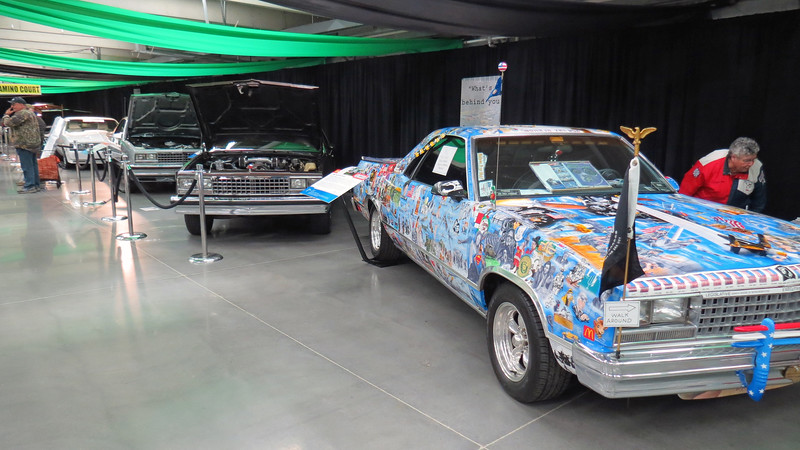 Several Chevrolet El Caminos were on display for the model's 60th anniversary.  The first car in line in the photo above with its very unusual paint and graphics is a 1986 model.