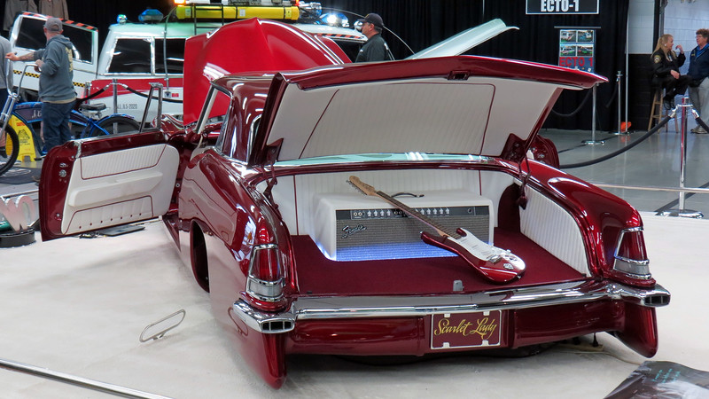 """Since Squier is part of the Fender company, it makes sense that the amplifier box in the trunk is a Fender.  The """"amplifier"""" is actually a custom cover for the air suspension plumbing."""