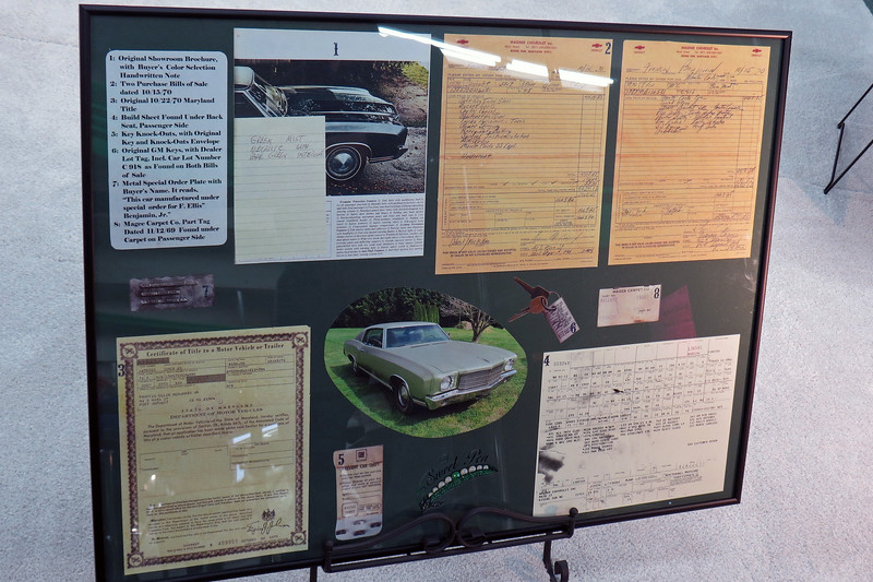 Lots of original documentation was displayed with the car including the build sheet, original Maryland title, and sales agreements.