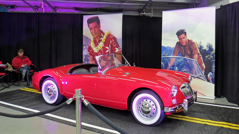 One of the featured exhibits inside the Showcase Pavilion was Elvis Presley's MG from the film Blue Hawaii.