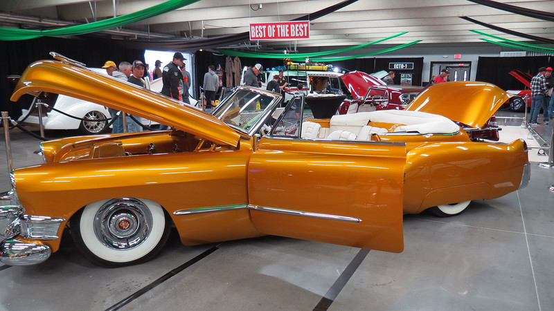 The car seen in the photos above and below is 1949 Cadillac convertible named the Golden Empress.