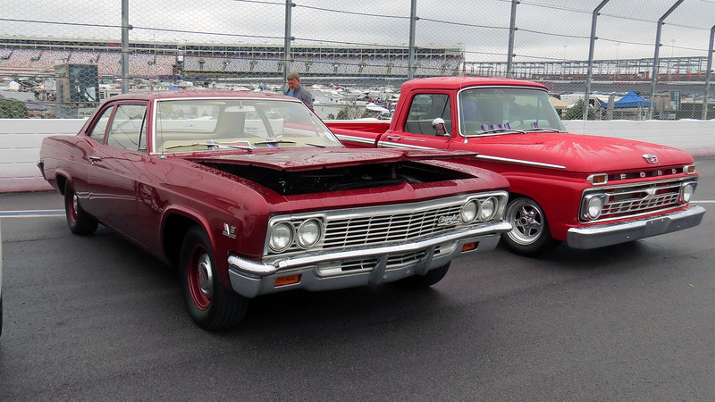 1966 Chevrolet (L) and 1966 Ford pickup (R).