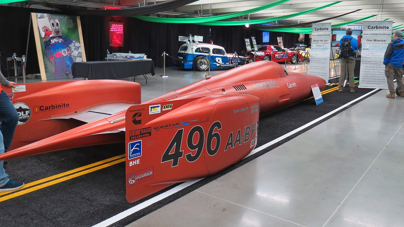 Another featured exhibit of the Showcase Pavilion was a display of various Bonneville Salt Flats racers.  The car in the photos above and below is a 2016 Carbinite LSR speed racer.
