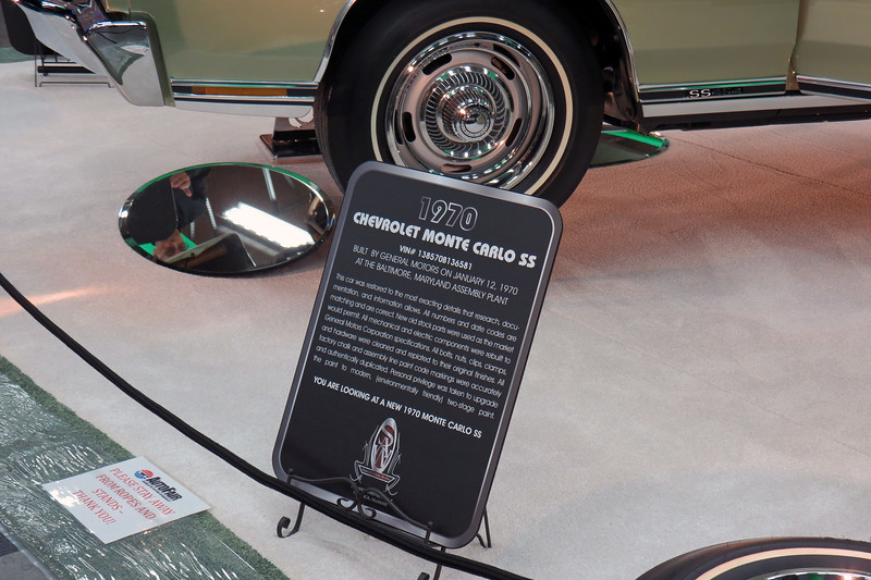"According to the sign, this car has been restored to the ""most exacting details"" available.  This means that everything on this car is as it was on January 12, 1970, the day it left the assembly line."