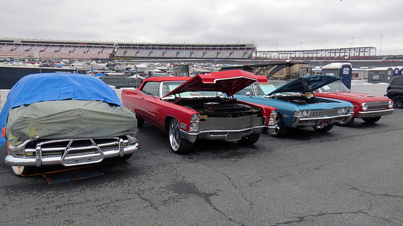 L to R:  1952 Hudson Hornet, 1967 Cadillac Deville convertible, 1968 Chevrolet, 1963 Ford Falcon.