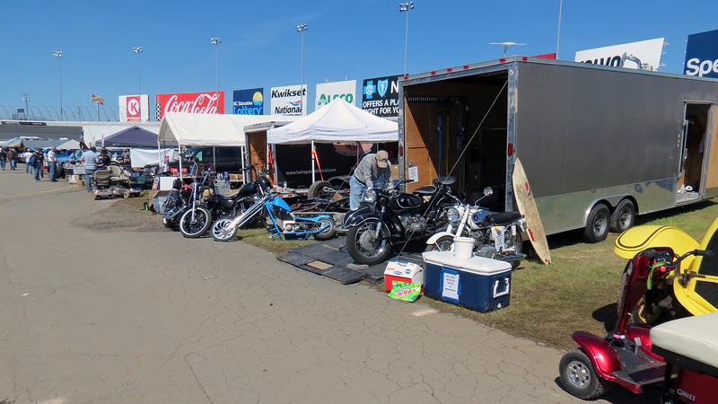 A few motorcycle vendors.