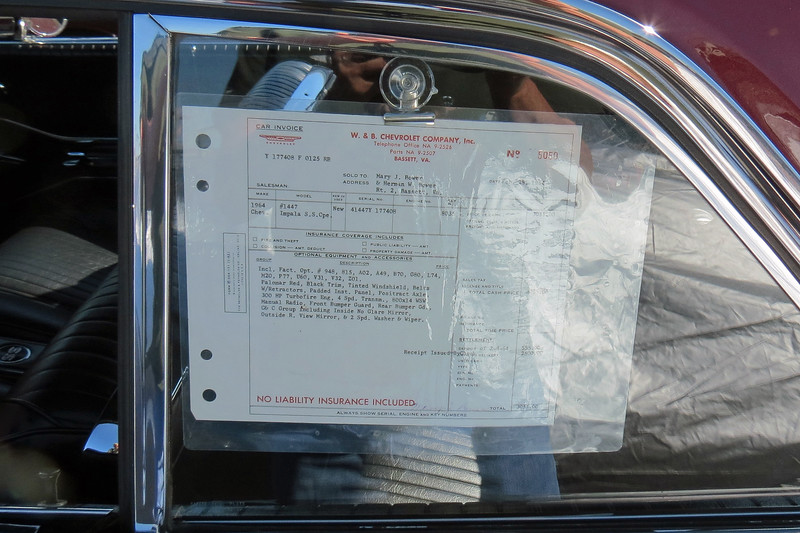 This car was displayed with the original bill of sale.