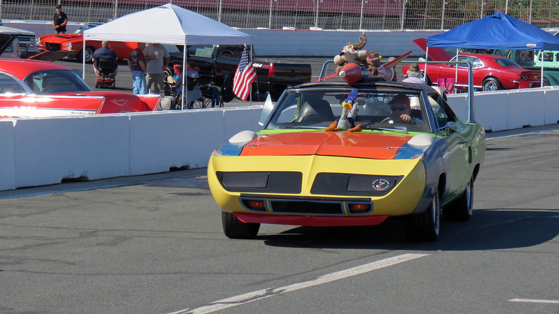 A Plymouth Superbird approached from the opposite direction.