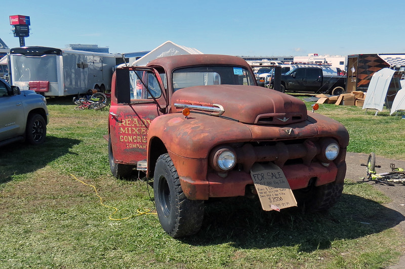 1950 Ford F800 truck, asking $8,500.  The signage says this truck now has a Chevrolet 454 CID V8.