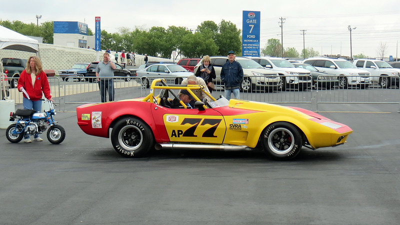 I made it a point to arrive early at the speedway today.  The benefit of this is that I got to see a lot of the show participants arrive as well.  The AACA requires that almost all of the registered cars be driven onto the show field.  The Corvette race car seen in the photo above sounded great !
