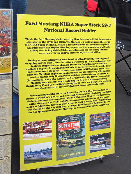 The sign displayed with the car details the racing documentation.