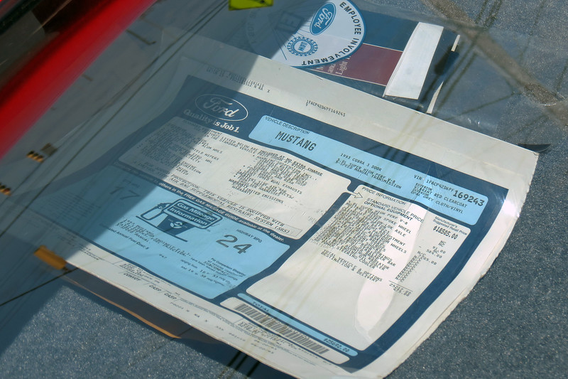 Instead of spending time on the race track, this car went into a garage.  All of the original paperwork, including the window sticker seen in the photo above, were with the car.  The plastic was still on the seats.  It looked like the car was never prepped.