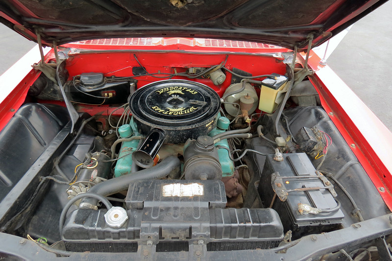 "This car has Buick's 401 CID ""Nailhead"" V8 that makes 325 hp.  The term ""Nailhead"" is a reference to the engine's vertical valve arrangement.  The number ""445"" seen on the air cleaner in the photo above actually refers to the torque output of the engine and not the displacement or horsepower."
