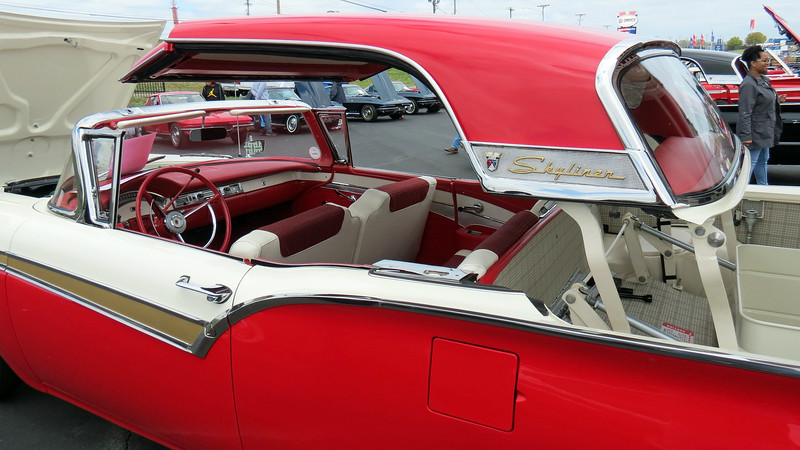 "Beginning in 1952, Ford used the name ""Sunliner"" to identify its top-of-the-line Crestline convertible.  The retractable models of 1957 - 59 were given the name ""Skyliner"" to distinguish them from the soft-top Sunliner that was also available in those years."