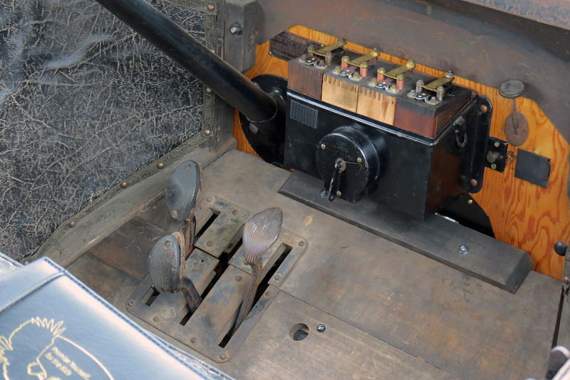 Another view of the three pedals, (left = high/low, center = reverse, right = brake).  The box in the center of the bulkhead is the coil box.