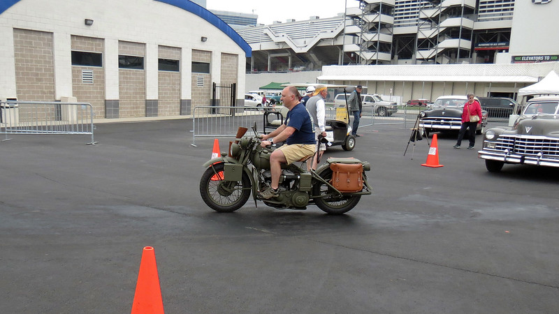 Another military vehicle arrives - 1942 Harley Davidson.