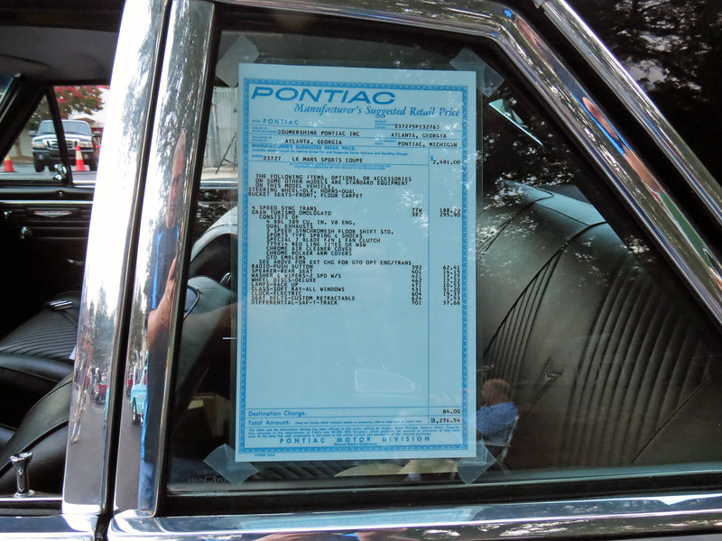 The car was displayed with a copy of the original window sticker.  The options shown on the sticker should match what is shown on the cowl tag.
