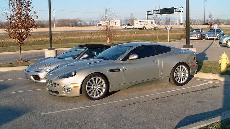 Ferrari 360 Spyder and Aston Martin Vanquish.