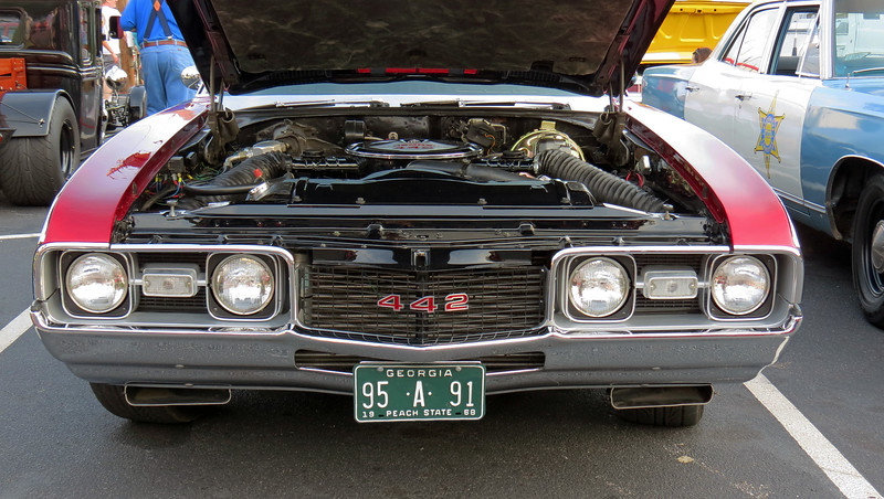 For 1968, the 442 was given its own style code - 344_7, (the missing digit indicated a convertible (6), sport coupe (7), or hardtop (8).  This car has the under-bumper scoops for the RPO W30 Outside Air Induction system.